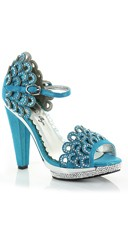 Rhinestone Scalloped High Heel - Blue