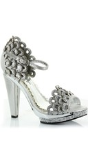 Rhinestone Scalloped High Heel - Silver