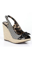 Gingham Espadrille Wedge with Bow - Black