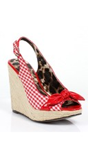 Gingham Espadrille Wedge with Bow - Red