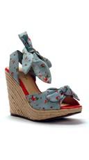 Strawberry And Polka Dot Daisy Wedge - Blue