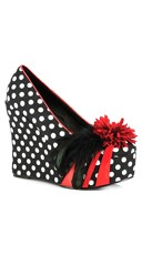 Flower and Feather Wedge Heel - Black/White