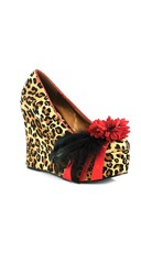 Flower and Feather Wedge Heel - Leopard