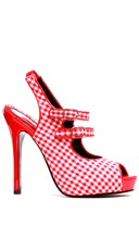 Double Strapped Gingham Peep Toe Pump - Red