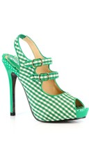 Double Strapped Gingham Peep Toe Pump - Green