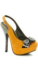 Houndstooth Slingback Heel - Yellow