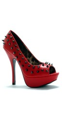 Spiked 5 Inch Open Toe Pump - Red
