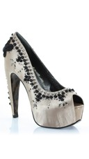 Satin Embellished Pump - Nude