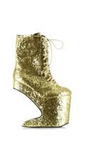 Glitter Lace Up Platform Bootie - Gold Glitter