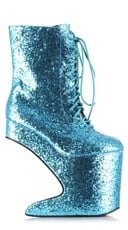 Glitter Lace Up Platform Bootie - Turquoise/Glitter
