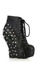 Studded Lace Up Wedge Ankle Bootie - as shown