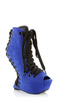 Lace Up Peep Toe Wedged Bootie - Royal Blue