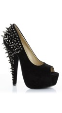 Velvet Peep Toe Pump with Spiked Heel - Black Velvet
