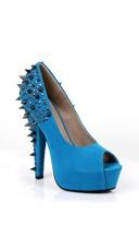 Velvet Peep Toe Pump with Spiked Heel - Blue Velvet