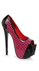 Houndstooth Stilleto Peep Toe Pump - Fuchsia