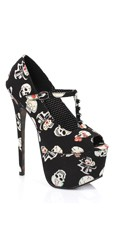 T-Strap Skull Printed Pump - Black