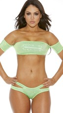 Metallic Bandeau Top With Sleeves - Green