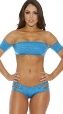 Metallic Bandeau Top With Sleeves - Blue