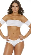 Metallic Bandeau Top With Sleeves - Silver