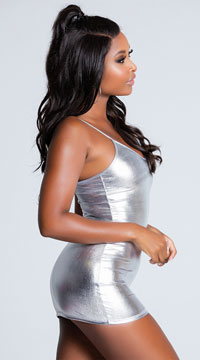 Metallic Hot Stuff Mini Dress - Silver