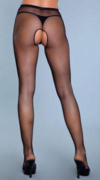 Fishnet Nylon Crotchless Panty Hose - Black