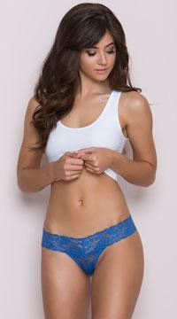 Lace V Cut Panties - Blue