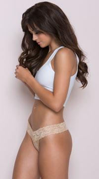 Lace V Cut Panties - Nude