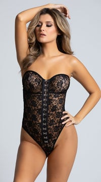 Sexy Strapless Lace Teddy - Black