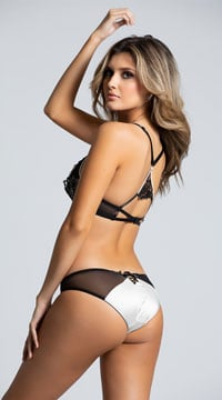 Racerback Mesh and Satin Bra Set - White/Black