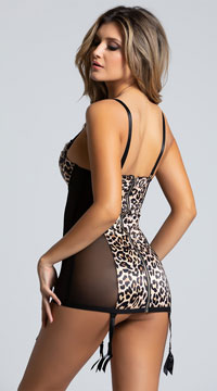 Sexy Leopard Print Chemise with Back Zipper - Animal Print