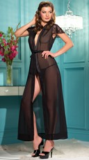 Plus Size Long Chiffon Robe with Lace Sleeves - Black