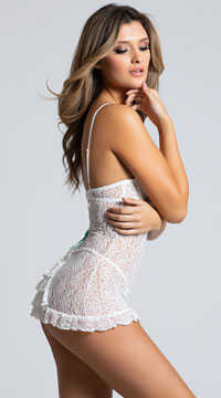 Lace Chemise with Bustle Back - White