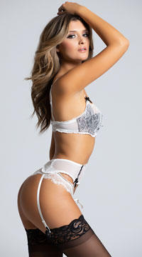 Lace Bra and Garter Skirt Set - White/Black