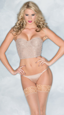 Lace Underwire Bustier Set - Nude
