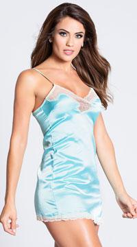 Satin and Lace Sleepwear Chemise - Blue