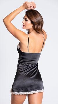 Satin and Lace Sleepwear Chemise - Black