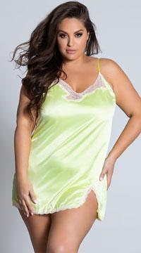 Plus Size Nightcap Satin Nightgown - Yellow