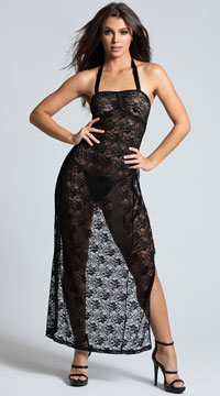 Open Back Black Lace Lingerie Gown - Black