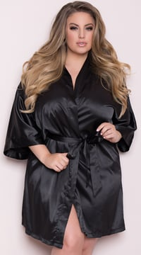 Plus Size Short Sleeve Satin Robe - Black