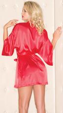 Short Sleeve Satin Robe - Red