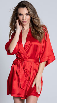 Short Sleeve Satin Robe - Red