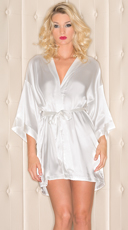 Plus Size Short Sleeve Satin Robe - White