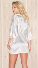 Short Sleeve Satin Robe - White