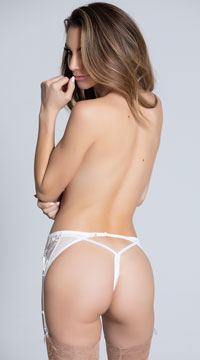 Mesh and Lace Garter Belt - White