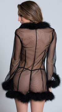 Mesmorize Me Black Marabou Robe - Black