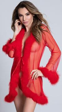 Mesmorize Me Black Marabou Robe - Red