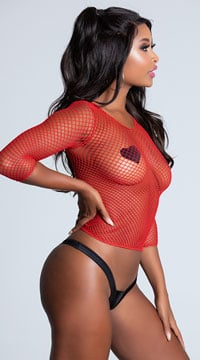 Moves On Fire Netted Top - Red
