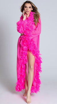 Deluxe Pink Feather Robe - Pink