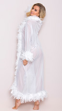 Deluxe White Feather Robe - White