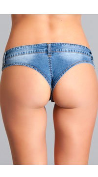 Denim Micro Booty Short - Blue